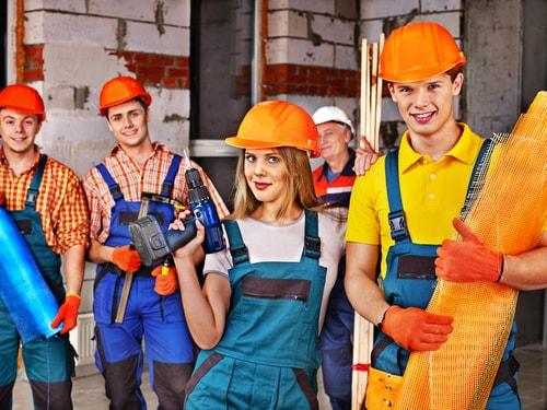 groep bouwvakkers